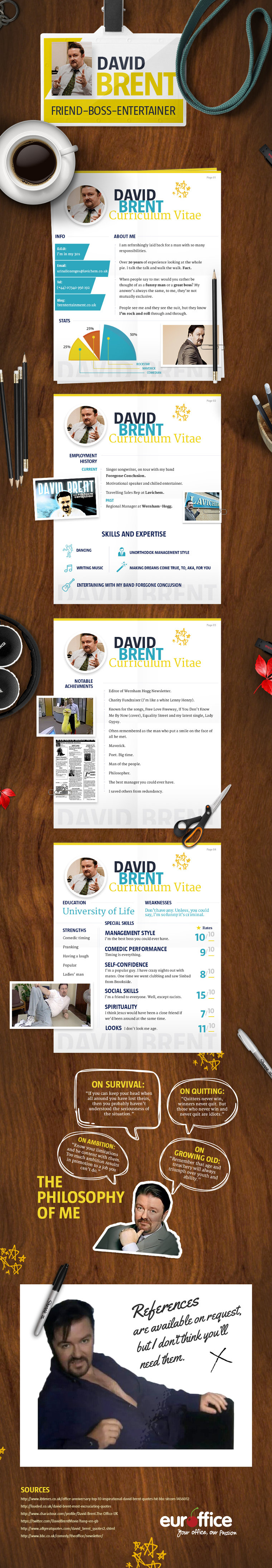 David Brent CV - infographic
