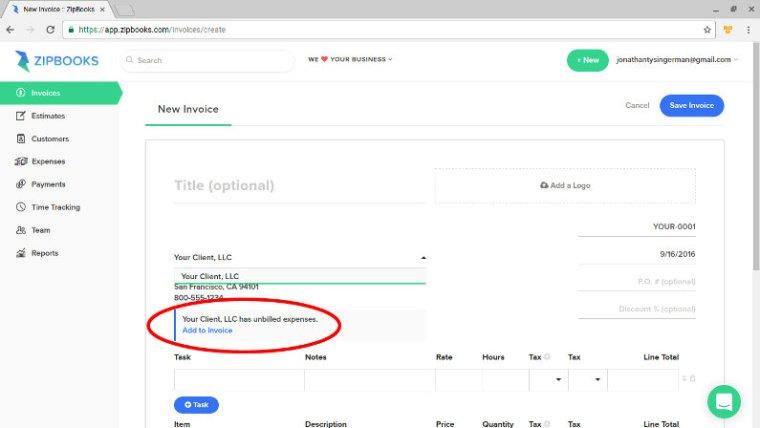 ZipBooks screenshot - add to invoice