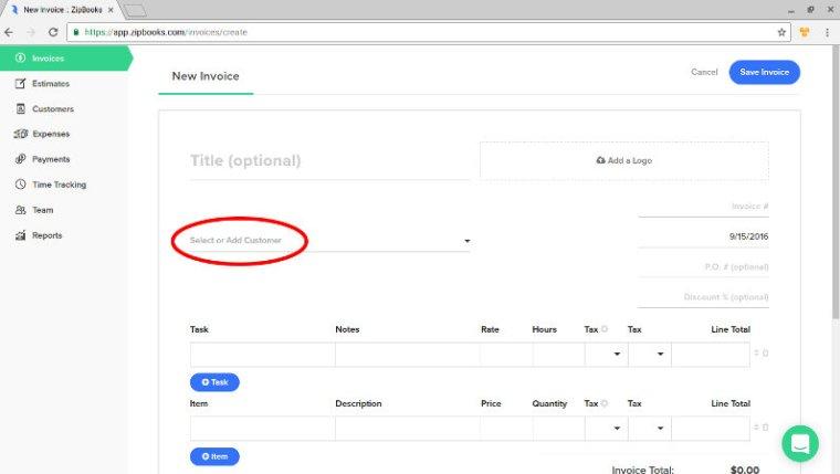 ZipBooks screenshot - new invoice