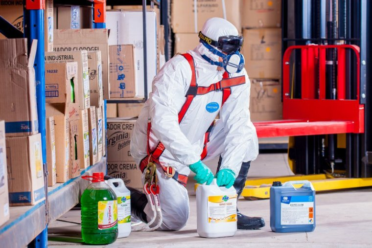 Worker working with chemical solution