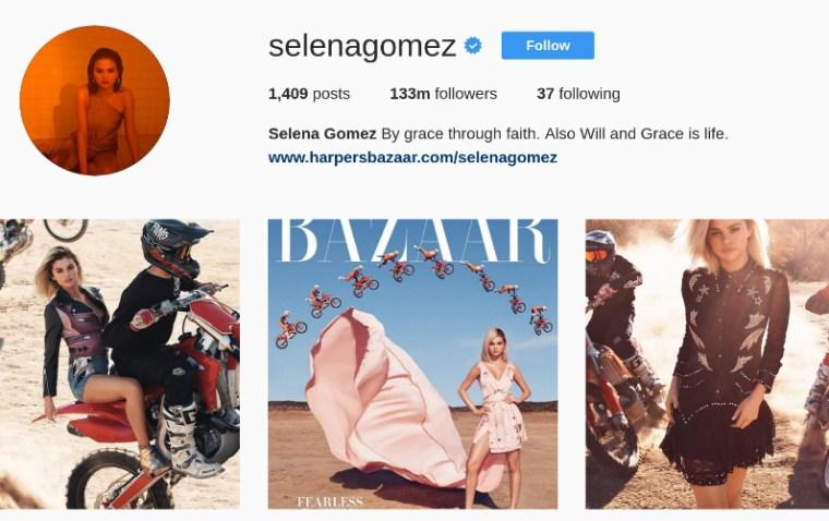 Selena Gomez Top Celeb on Instagram