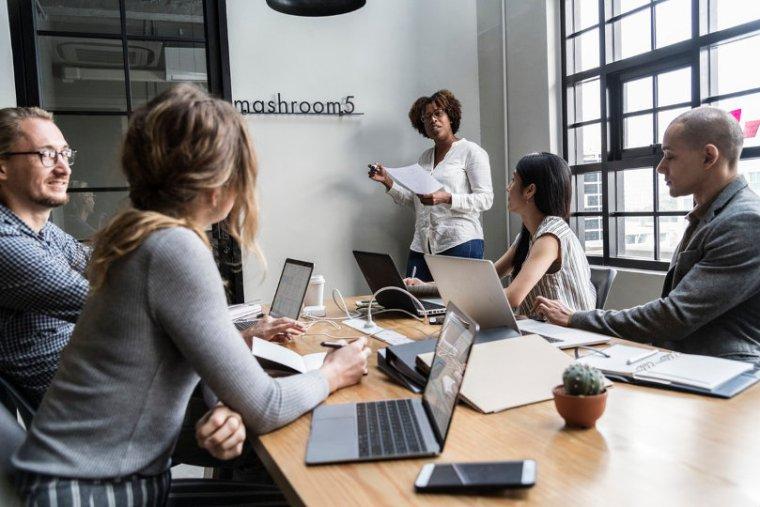 Meeting at a virtual office space in Hong Kong