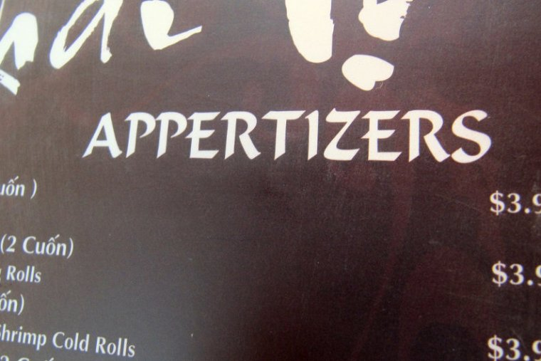 Appertizers typo