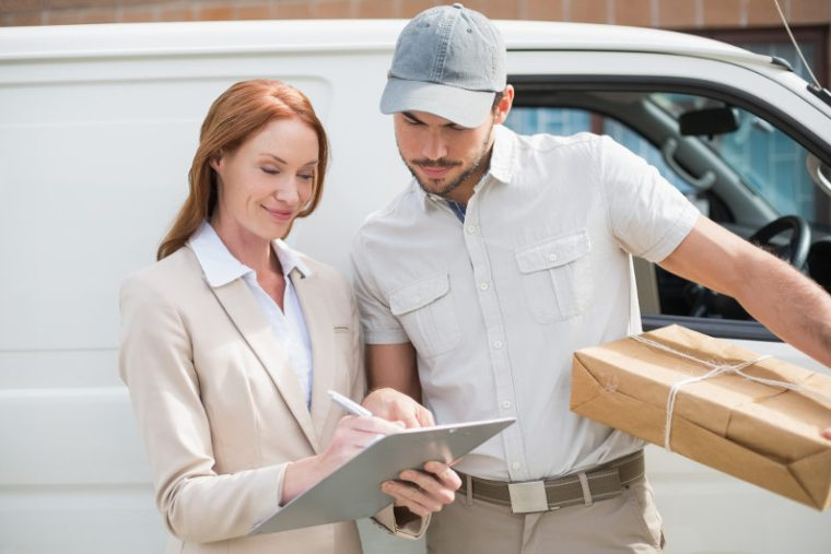 Courier service staff delivering packages
