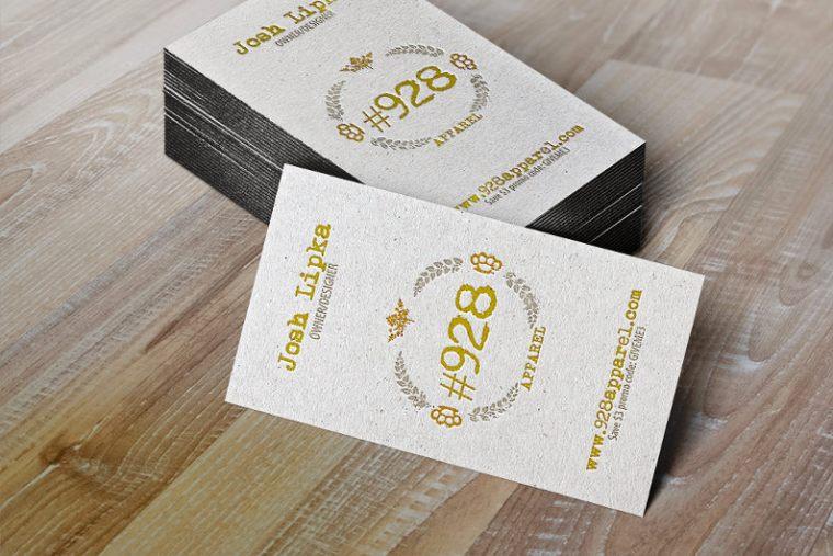 Letterpress business cards stack