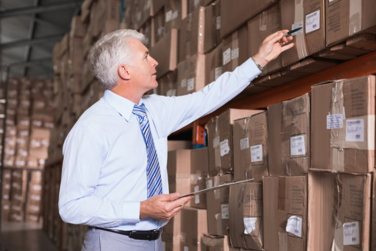 Warehouse manager doing inventory control