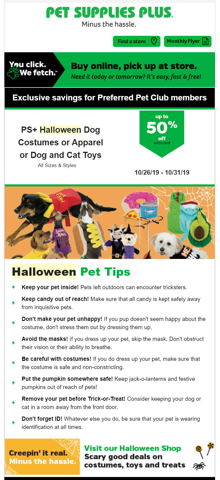 Pet Supplies Plus email campaign