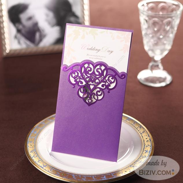 Deep Purple Curly Ornament Wedding Invitation Iwi113