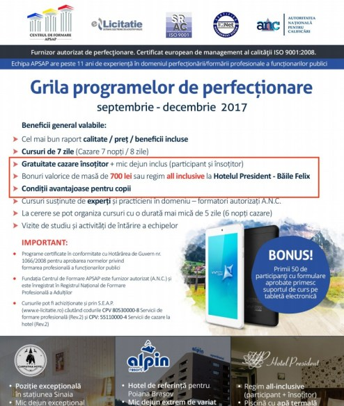 Grila programelor de perfectionare