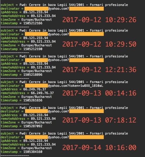 Captură sistem tracking pixel, privind cererea către Primăria Țicleni