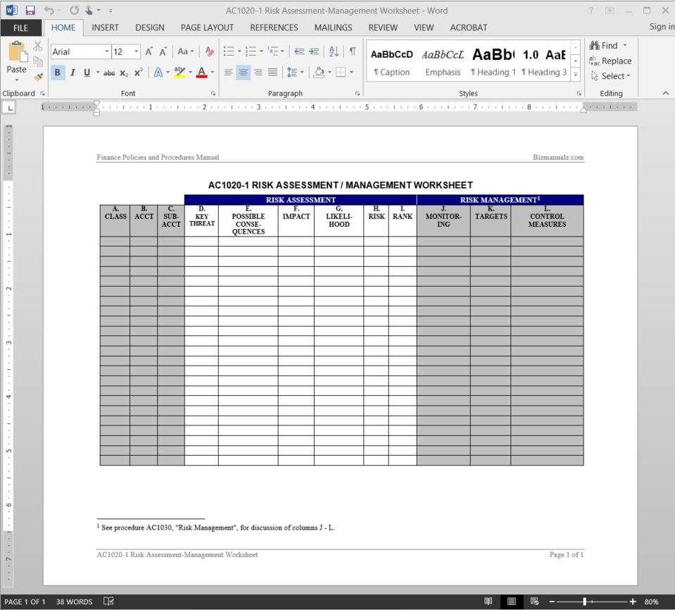 Risk Assessment Management Worksheet Template