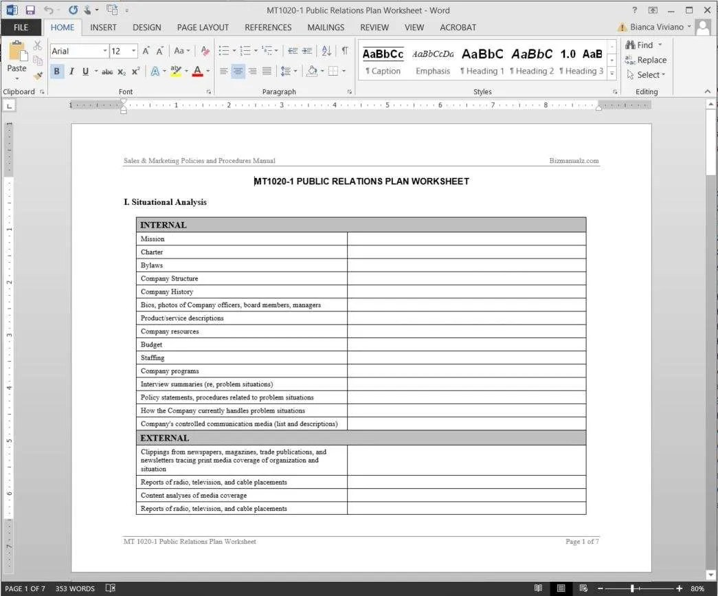 Template Of Worksheet