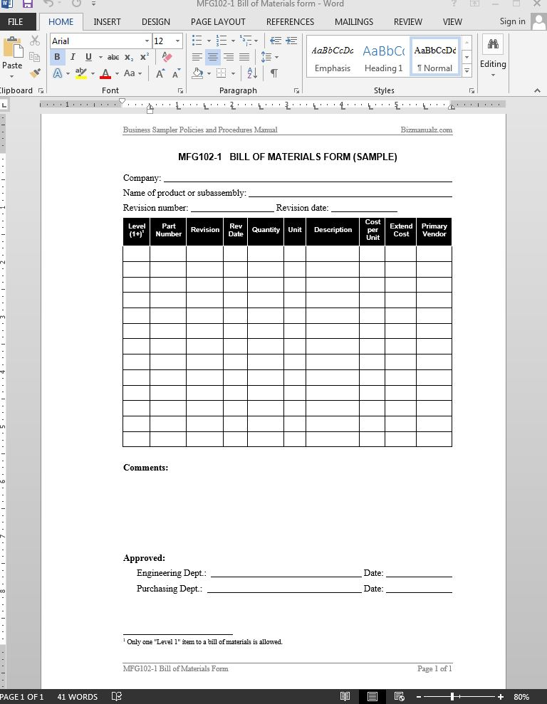 (2) a plastic or paper diagram that you can put on your keyboard to indicate the meani. Bill Of Materials Report Template