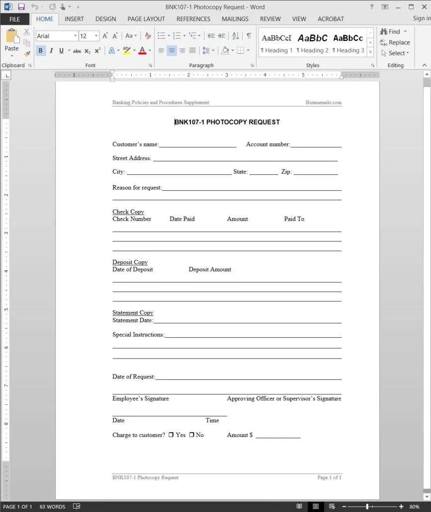 Photocopy Request Template Rh Bizmanualz Com Purchase Order Request  Template Check Request Form Template