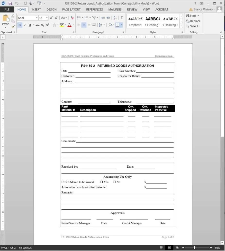 Quality Assurance Document Template