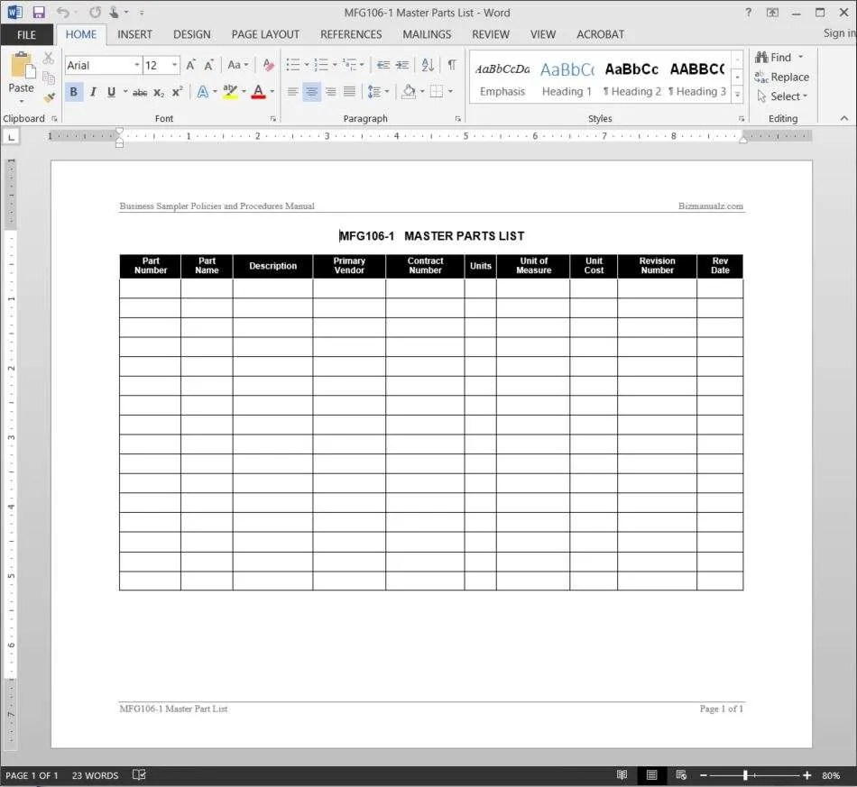 Master Parts List Template