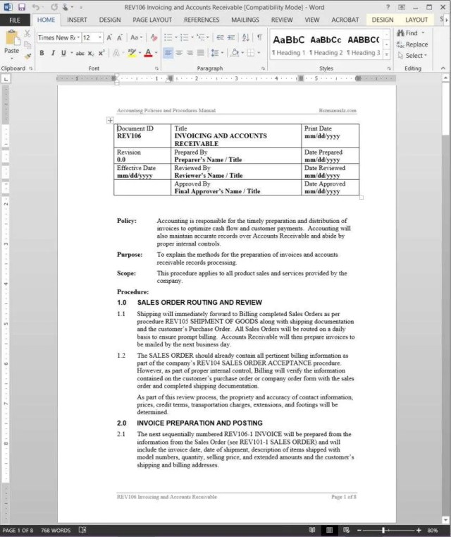 church policy and procedures manual template