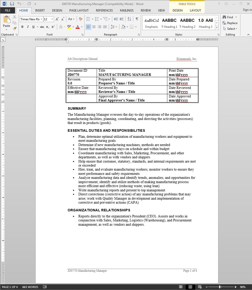 Manufacturing Manager Job Description