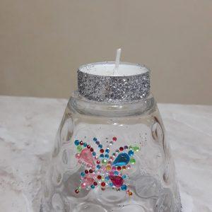 bicchiere a candela con farfalla