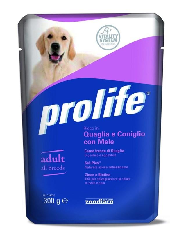 Prolife Dog Adult All Breeds Quaglia e Coniglio con Mele – 300 gr