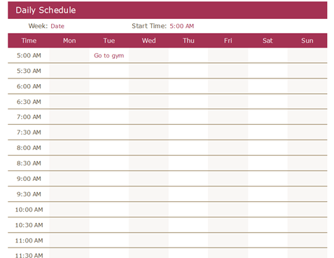 A time schedule sample