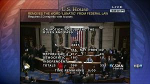 "Screen shot of House ""Lunatic"" vote from C-SPAN"