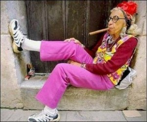 granny crazy with cigar