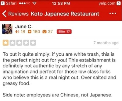 screenshot yale dean june chu racist yelp reviews white trash