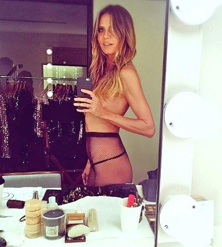 heidi klum topless instagram selfie