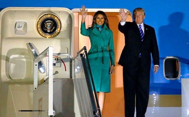 Melania trump fashion president donald trump arrive in poland airport