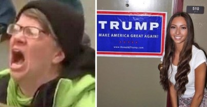 ugly hillary supporter screams versus babes for trump