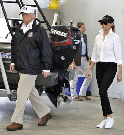 AP-Melania trump high heels sneakers hurricane harvey