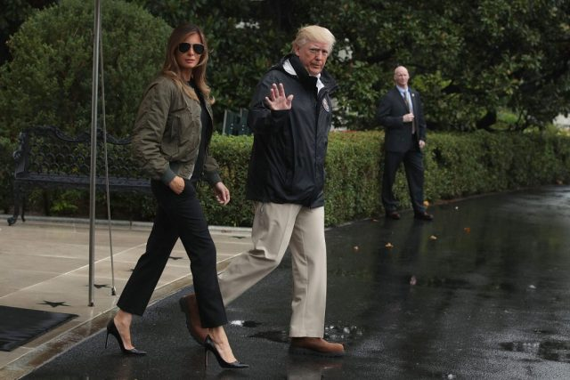 After Melania gets off Air Force One in leather skirt, she