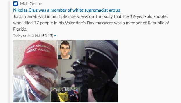 Florida shooting suspect 'is part of white supremacist group'