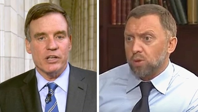 Democratic Senator Mark Warner and Russian oligarch Oleg Deripaska
