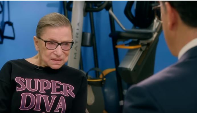Colbert works out with Ruth Bader Ginsburg