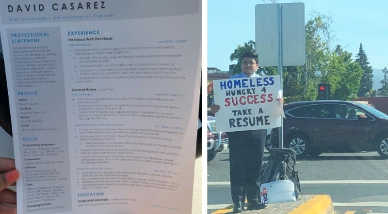 Homeless man passes out resume on corner, scores over 200 job offers ...