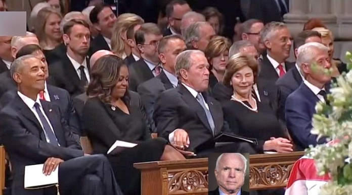 The media lovingly fawned over this moment at John McCain's funeral, where George W. Bush playfully passed candy to Michelle Obama. Imagine the outrage had President Trump smiled during a state funeral.