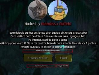 Site-ul CJ Cluj, atacat de hackeri. Captură FOTO: BizPLUS