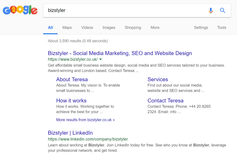 Bizstyler LinkedIn company page in Google results