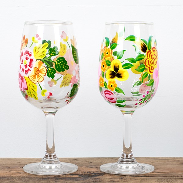 A hand painted blown glass