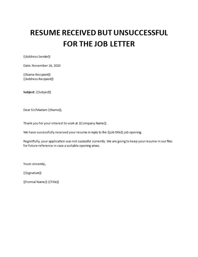 Job applicant rejection letter sample