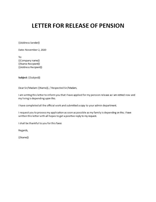 Pension request letter format