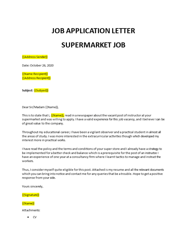 Application for a Job in Supermarket
