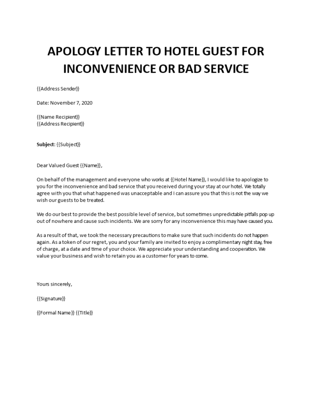 Apology Letter to Hotel Guest for inconvenience