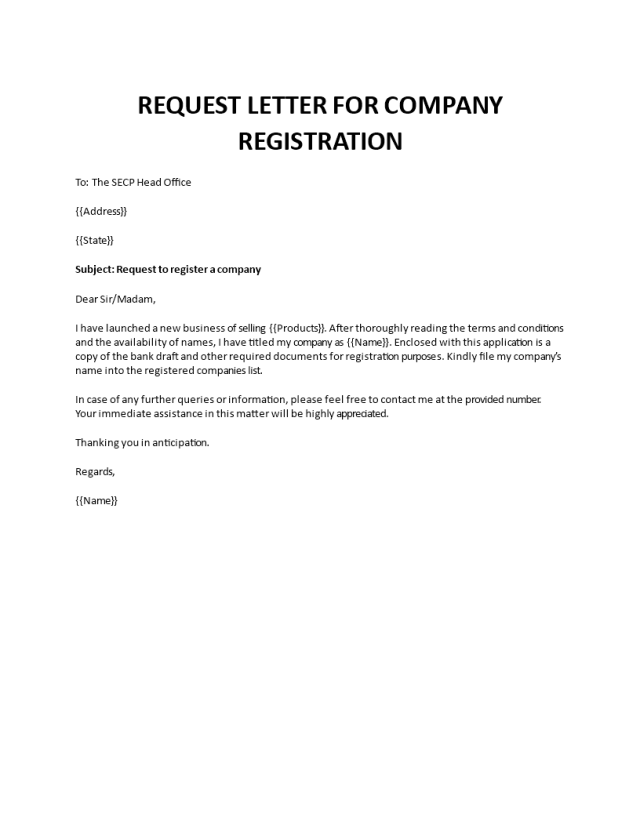 Request letter for company registration