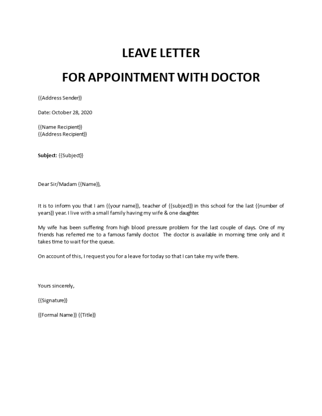 School leave Letter teacher doctor appointment