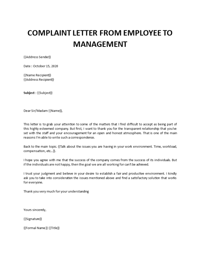 Complaint letter from employee to management