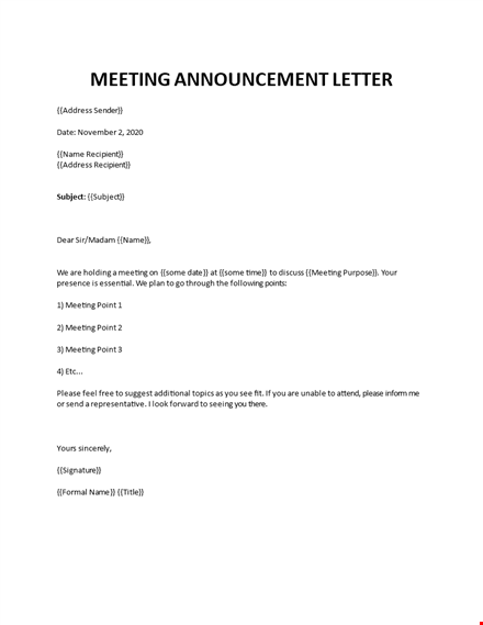 meeting announcement and invitation letter
