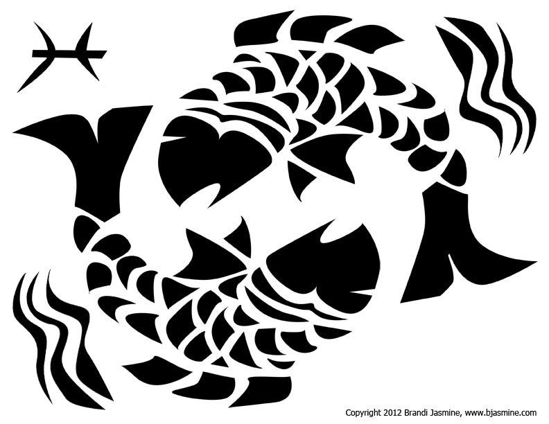 Pisces Zodiac Sign Pumpkin Carving Pattern